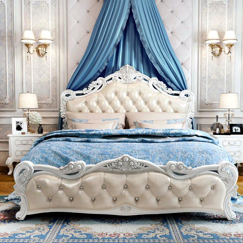主臥婚床雕花臥室家具套裝組合米床1.81.5歐式床雙人床公主床