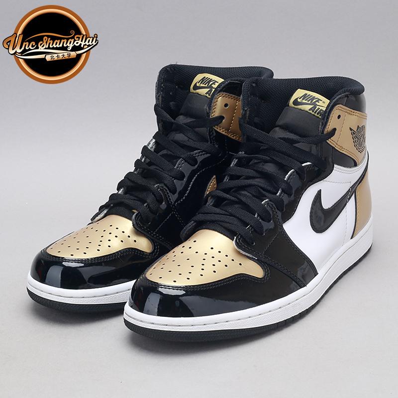 北卡大学 Air Jordan 1 Gold Toe AJ1 黑金脚趾 95新 861428-007