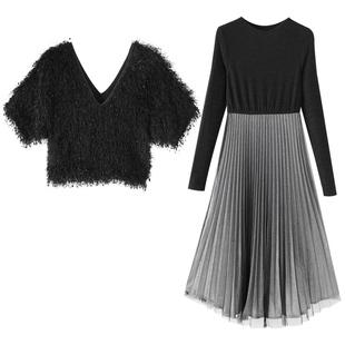 秋冬裙子套裝女神範2020新款冬裝女裝洋氣馬甲連衣裙百褶裙兩件套
