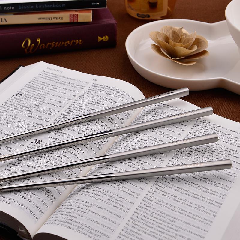 不锈钢筷子304不锈钢空心方形筷5双起包邮18-10出口韩国日本餐具