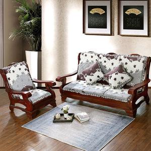秋冬季防滑加厚单人座红木实木沙发坐垫带靠背连体靠垫一体可拆洗