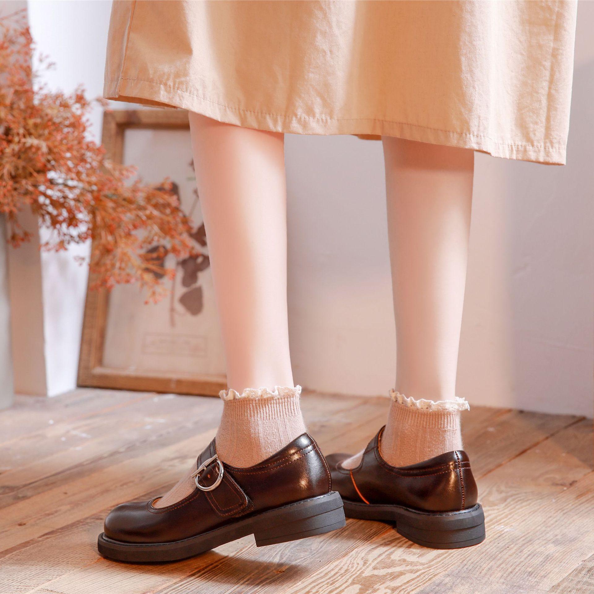 2020年新款一字扣玛丽珍皮鞋女洛丽塔魔术贴日系小皮鞋女新款百搭