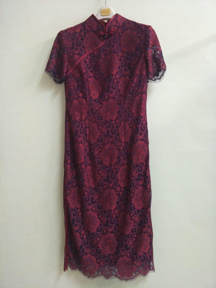 专柜正品梦至超2018新款春夏装M18Y035优雅蕾丝气质中长款旗袍裙