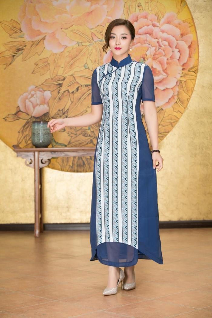 专柜正品梦至超2018新款春夏M17Y018高贵长款条纹修身中国风旗袍