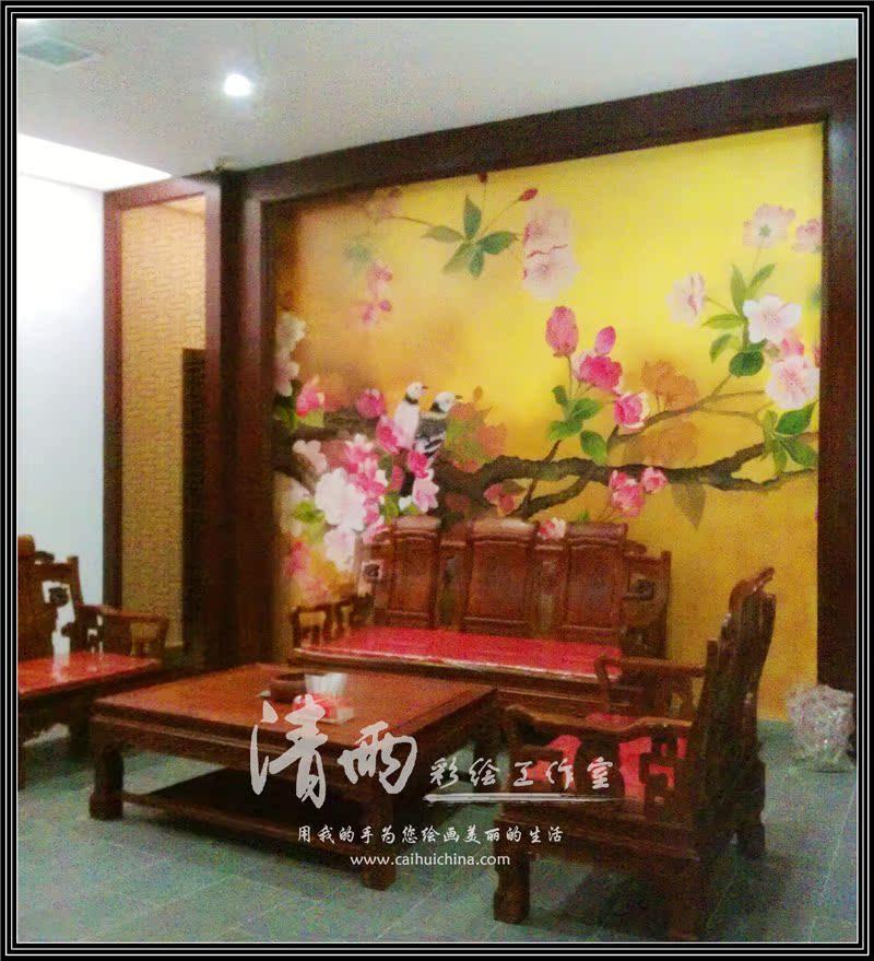 墙绘定金 墙体彩绘 屏风 手绘墙 电视墙 沙发墙 绿色墙纸
