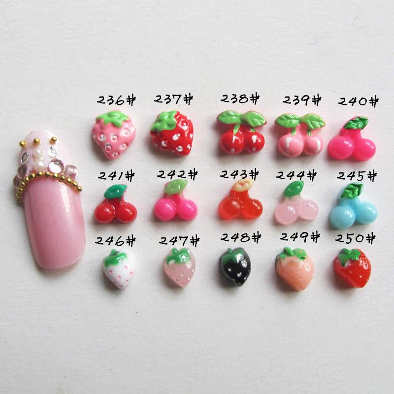 新品*日系美甲饰品批发 DIY手机配饰 树脂彩绘草莓 樱桃 236-250#