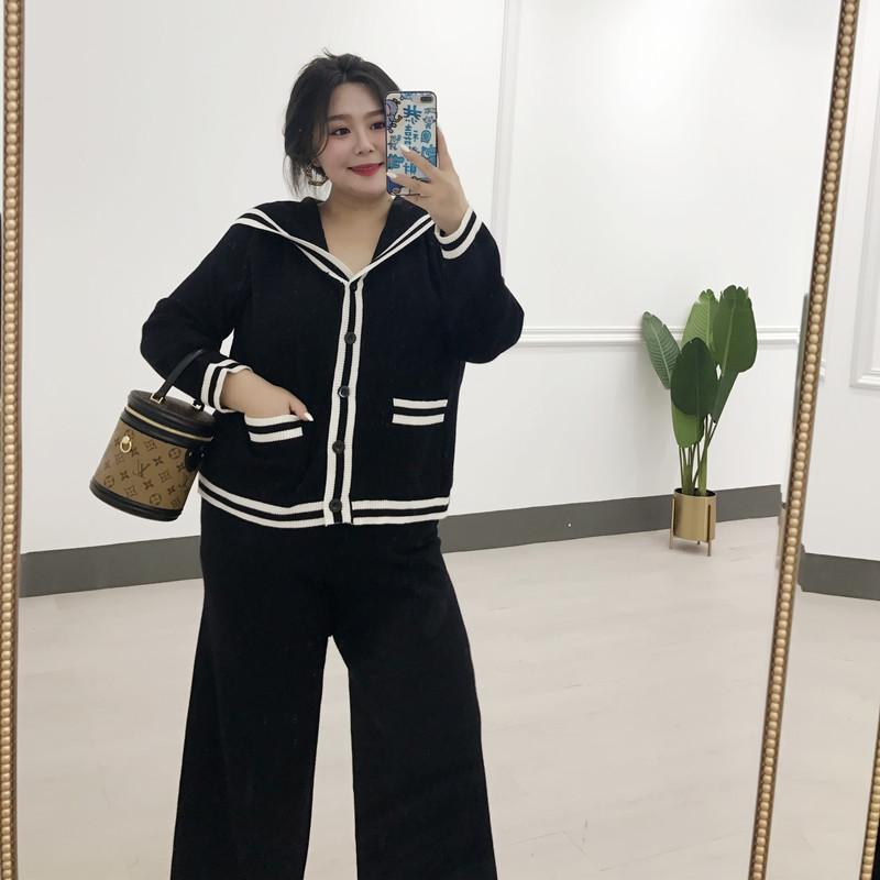2019新款秋装大码女装胖mm针织阔腿裤套装洋气时髦网红两件套显瘦(非品牌)