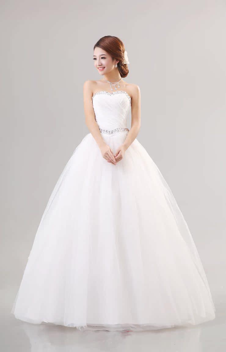 2014 последние свадебные платья роскошный алмаз stomacher повязку платье Корейский Корейский Ци помпоном платье