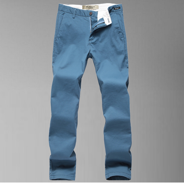 Fashionable and comfortable mens cotton casual pants new soft elastic mid waist slim mens long pants