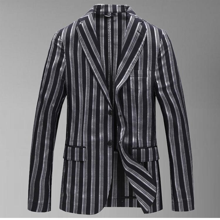 断码男士薄款西服棉质舒适休闲条纹时尚单层微弹修身男款外套