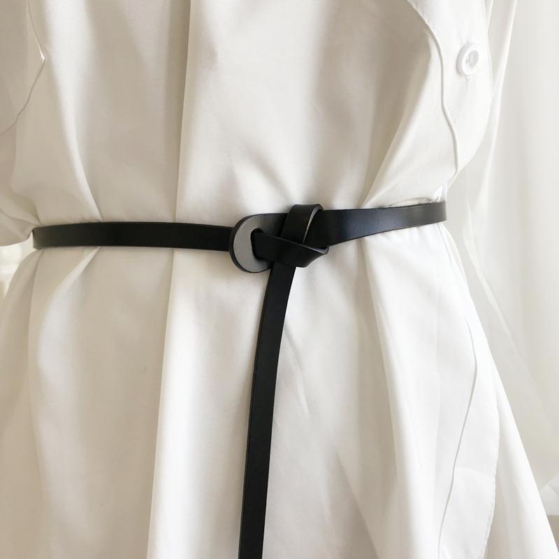 韩国新款气质打结大衣腰带牛皮衬衫