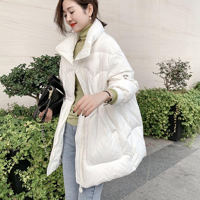 白色羽绒服女中长款欧洲站2020冬新款欧货时尚高领收腰加厚羽绒衣