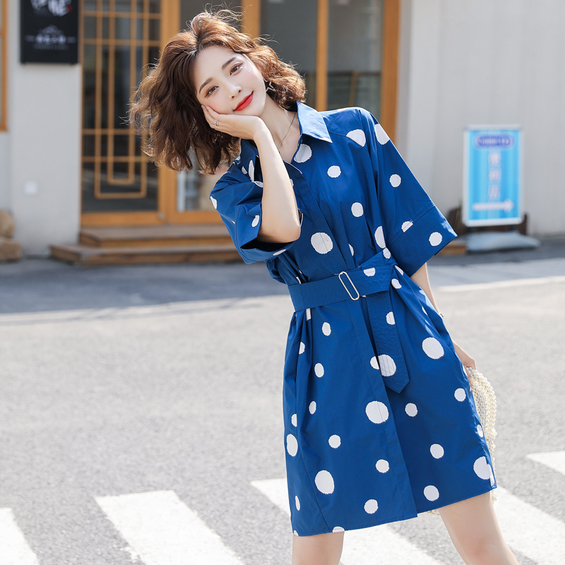 2020 summer Korean womens new temperament shirt dress slim medium length polka dot printed French skirt fashion