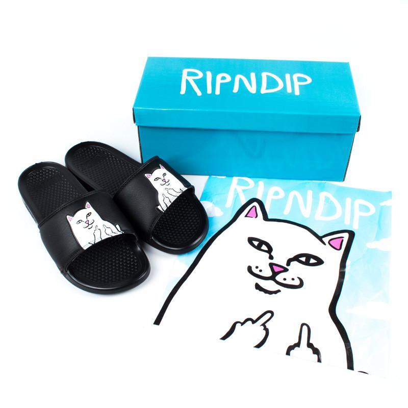 Ripndip Lord Nermal Slides 贱 кот в палец кот домой случайный шлепанцы песчаный пляж обувной
