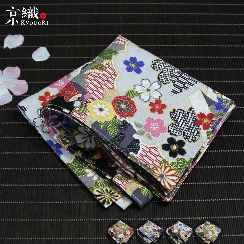 女式大号方巾 优雅时尚手帕 鲜花满地纯棉印花方巾手帕日本制潮