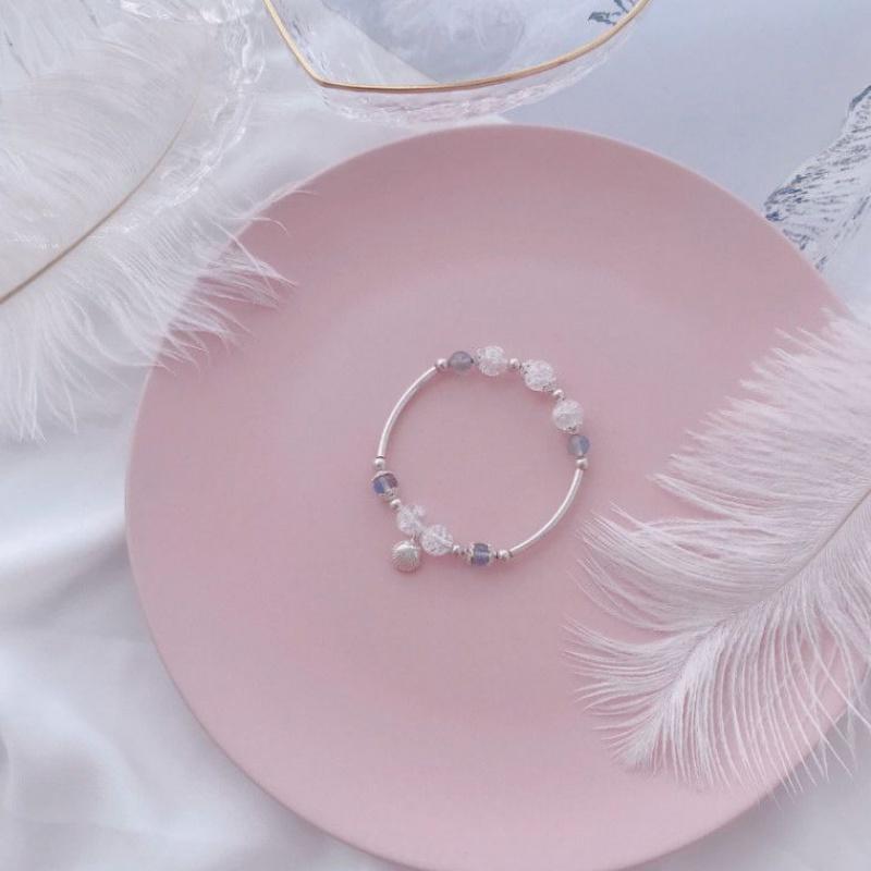 See studio for the first time. Moonstone / flower crystal / shell. Sterling Silver Elastic Bracelet. Girl Crystal Bracelet