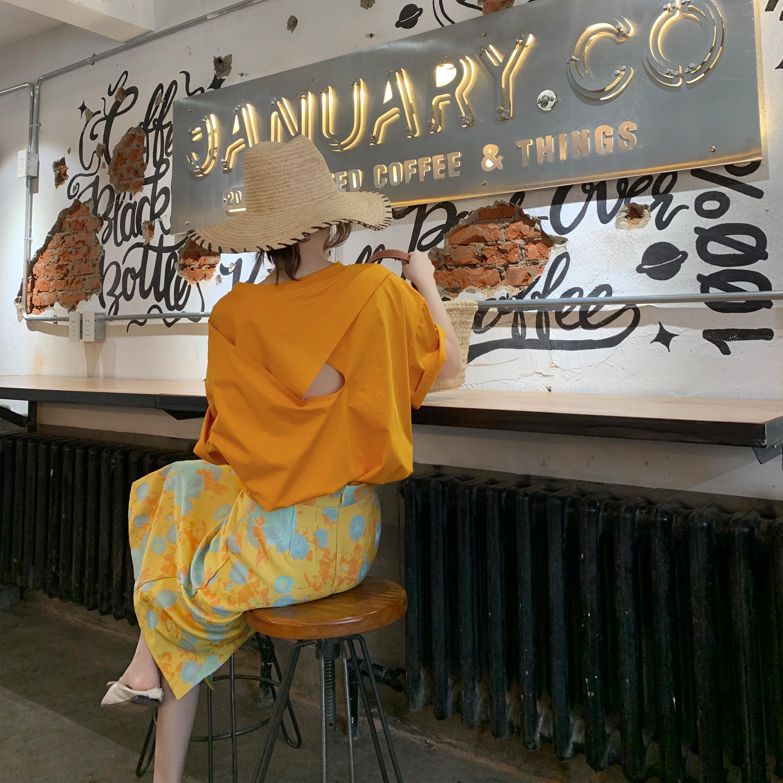 Tongse 短袖女2020新款纯色T恤后背镂空小心机休闲宽松套头上衣夏
