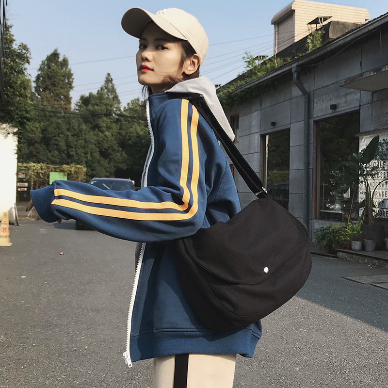 Trend, personality, fashion, canvas bag, Messenger Bag, new Japanese single shoulder small span bag, Messenger Bag for men and women