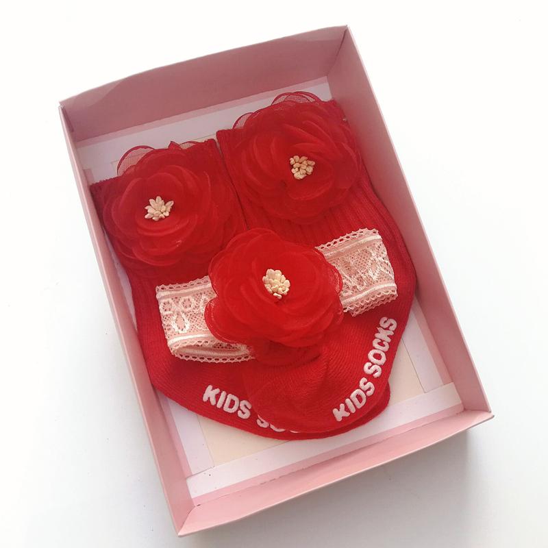 Korean childrens headband socks gift box baby hair band floor socks set 0-1 year old baby princess hair accessories gift