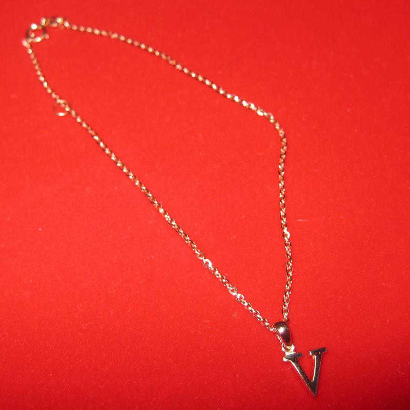 Letter necklace 18kk rose gold V pendant birthday gift real gold with chain link Anklet star