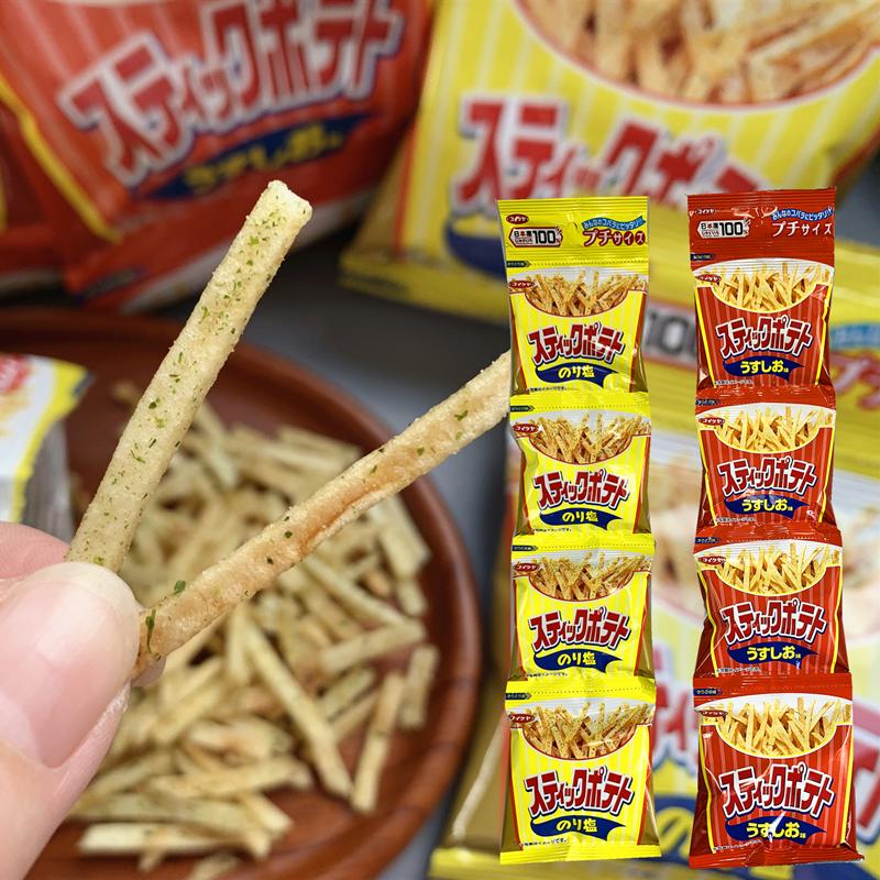 日本进口零食品湖池屋海苔味淡盐味细薯条四连包膨化薯片13g*4