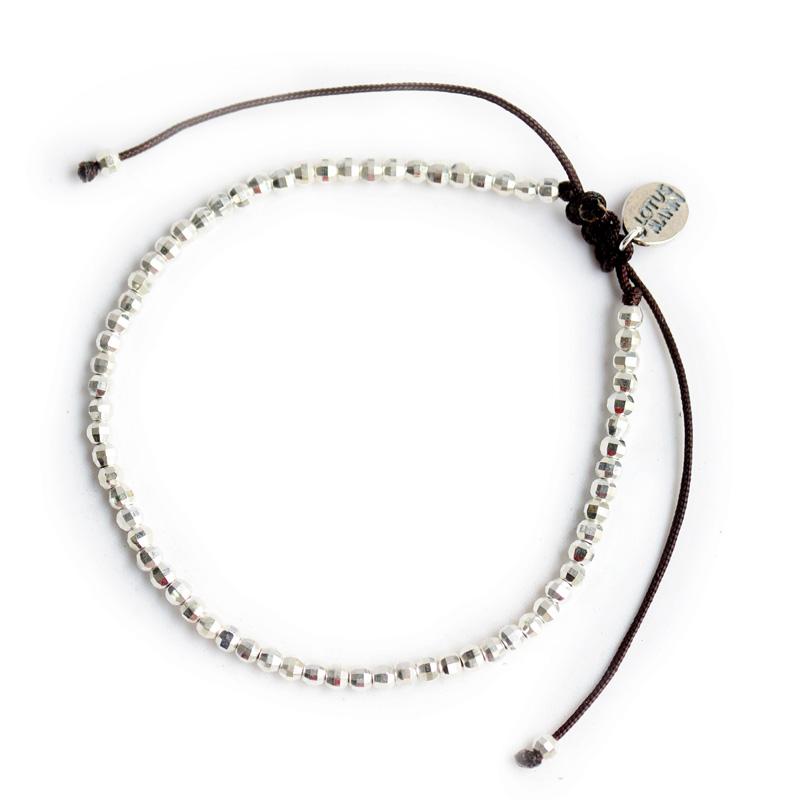 纯银极细微小单圈银珠手链小众设计编织绳手串搭配ins路塔斯曼925