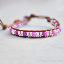 Lotus mann pink stripe agate with AB color crystal lap brown color leather cord bracelet Europe and the United States