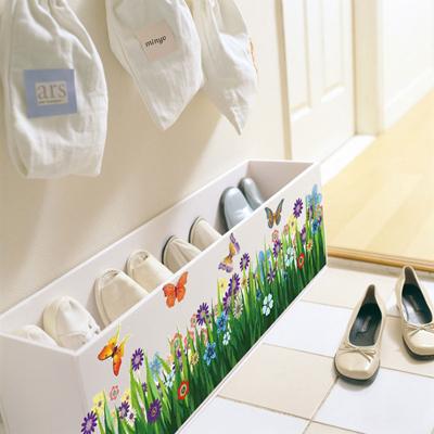 沃雅墙贴 客厅沙发背景腰线踢脚线三代可移除墙贴 蝴蝶花丛