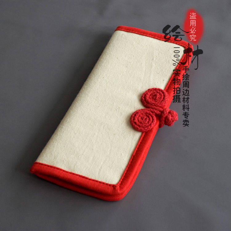 倾城手绘空白两折长款钱包帆布女士盘扣布艺中国风复古纯色钱夹