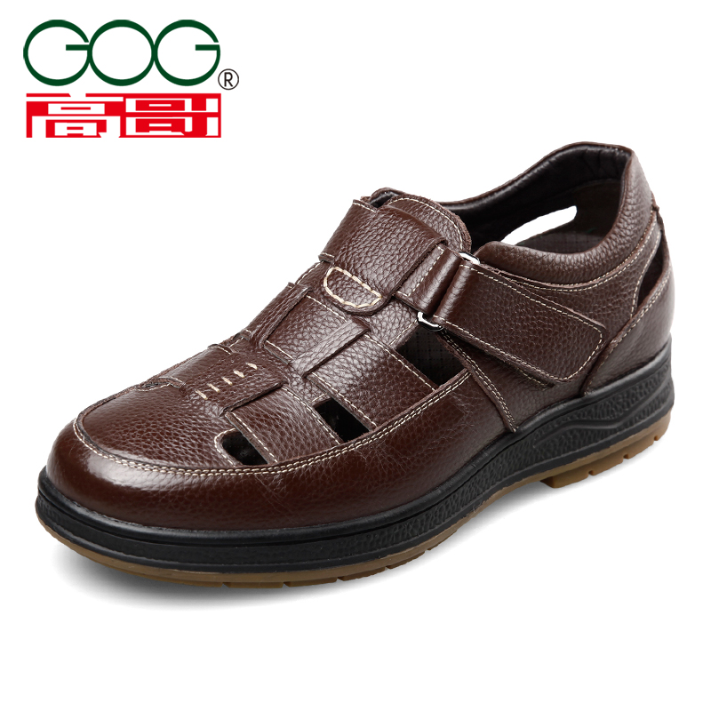 Gaoge high shoes mens 6cm summer breathable high sandals hollow leather shoes mens leisure large hole sandals