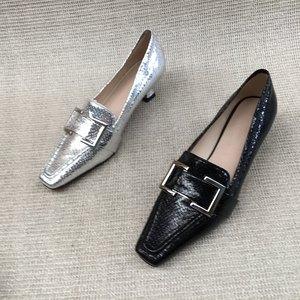 外贸撤柜断码清仓女士潮流亮皮中跟单鞋2021夏款真皮休闲时尚女鞋