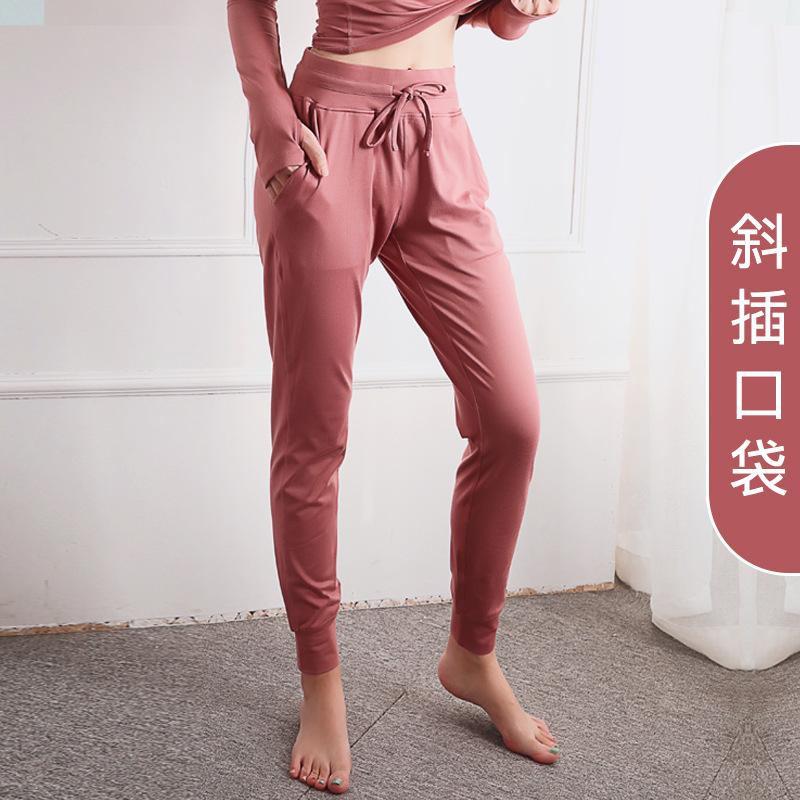 健身裤女夏季薄款速干束脚运动裤透气瑜伽裤lulu网红外穿训练裤女