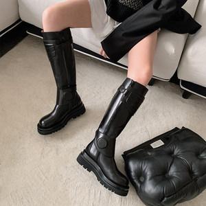鞋大师欧美真皮厚底骑士靴女高筒圆头平底马靴长筒靴不过膝长靴