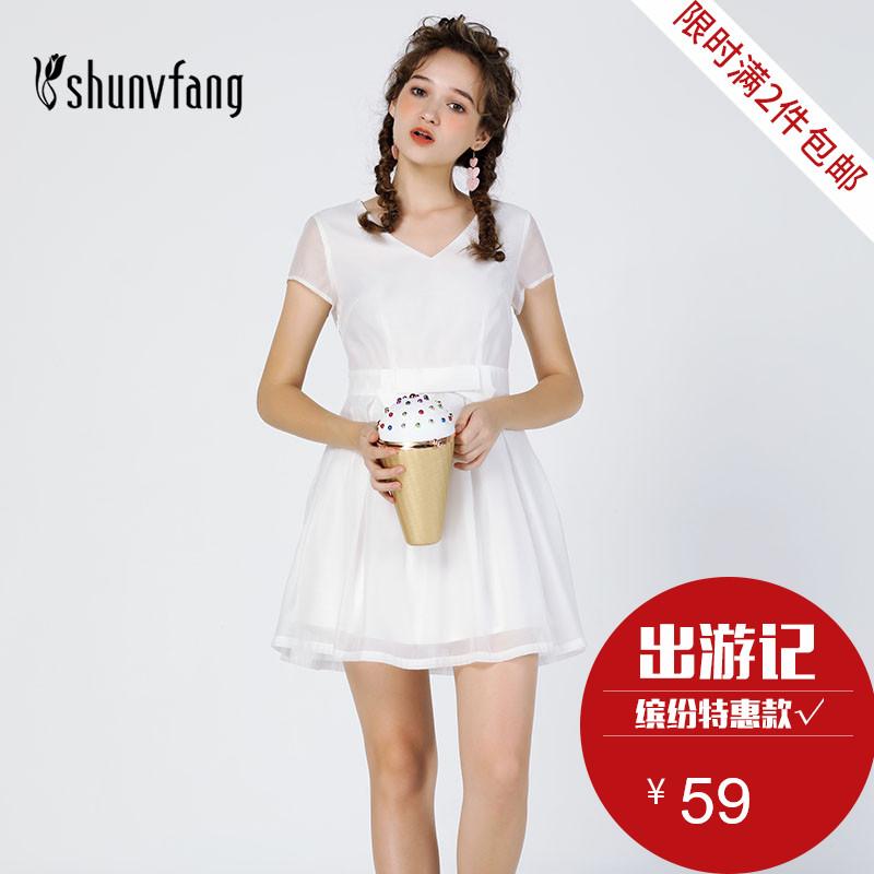 【缤纷特惠款】十八淑女坊甜美可爱蝴蝶结气质纱网V领显瘦连衣裙