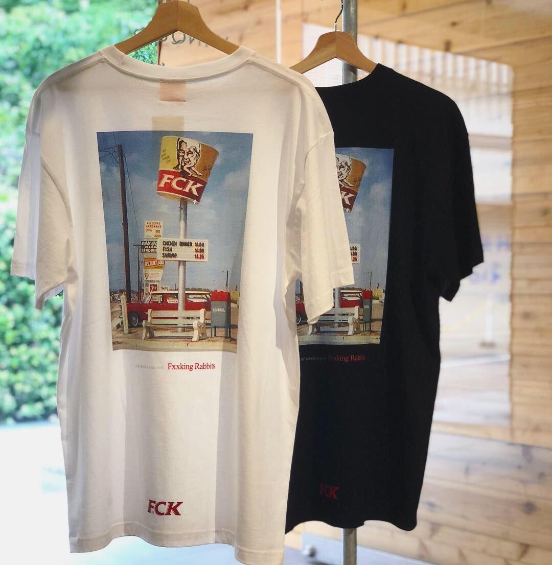 潮物Woo FR2 FCK Back Print T-Shirt 肯德基恶搞印花Logo短袖T恤