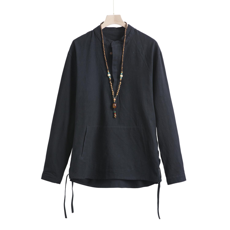 T93*2020春季男士日系棉麻长袖T恤衫立领卫衣男 黑色 *P60