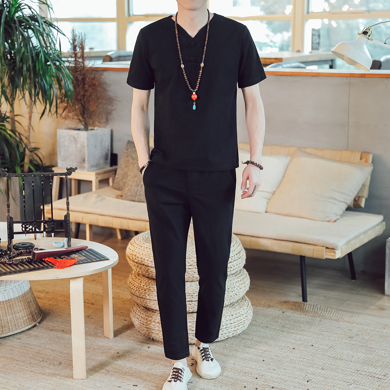 DY18*夏季2019男士棉麻短袖T恤套装长裤两件套装男 黑色 *P55