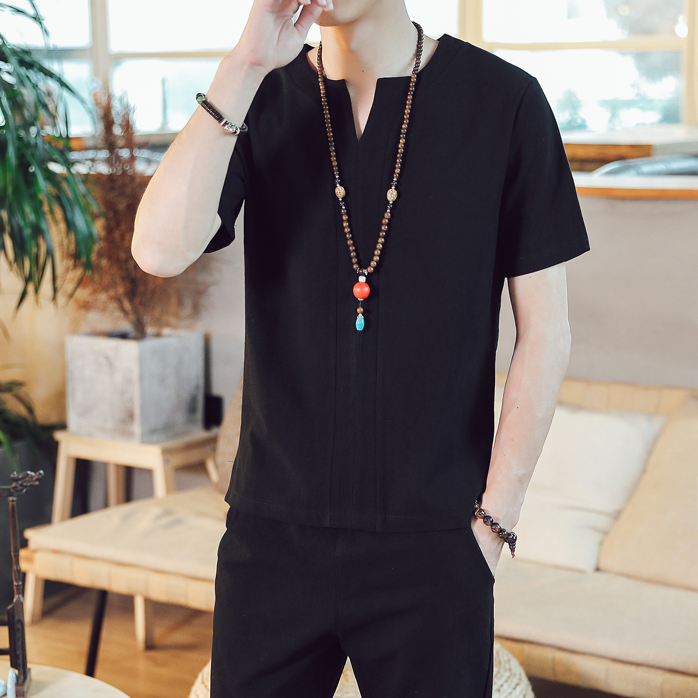 DY19*夏季2019男士棉麻短袖T恤套装长裤两件套装男 黑色 *P55