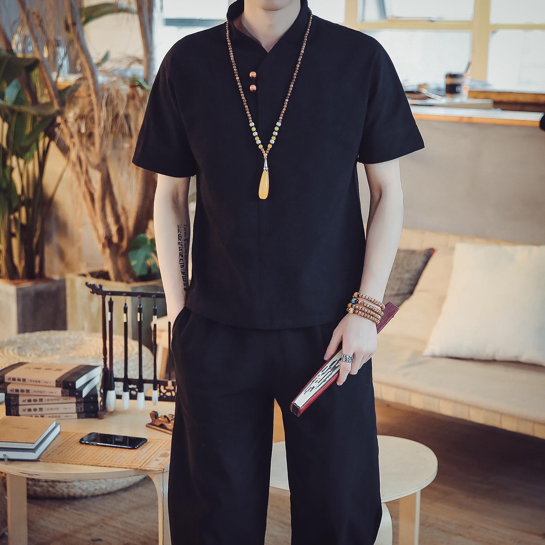 DY10*2018夏季男士棉麻短袖T恤套装阔腿裤两件套装男 黑色 *P55