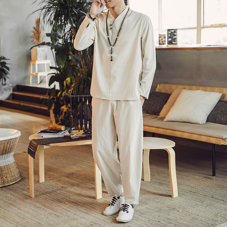 DY15*2020春季男士棉麻长袖T恤套装阔腿裤宽松男 杏色全身 *P70