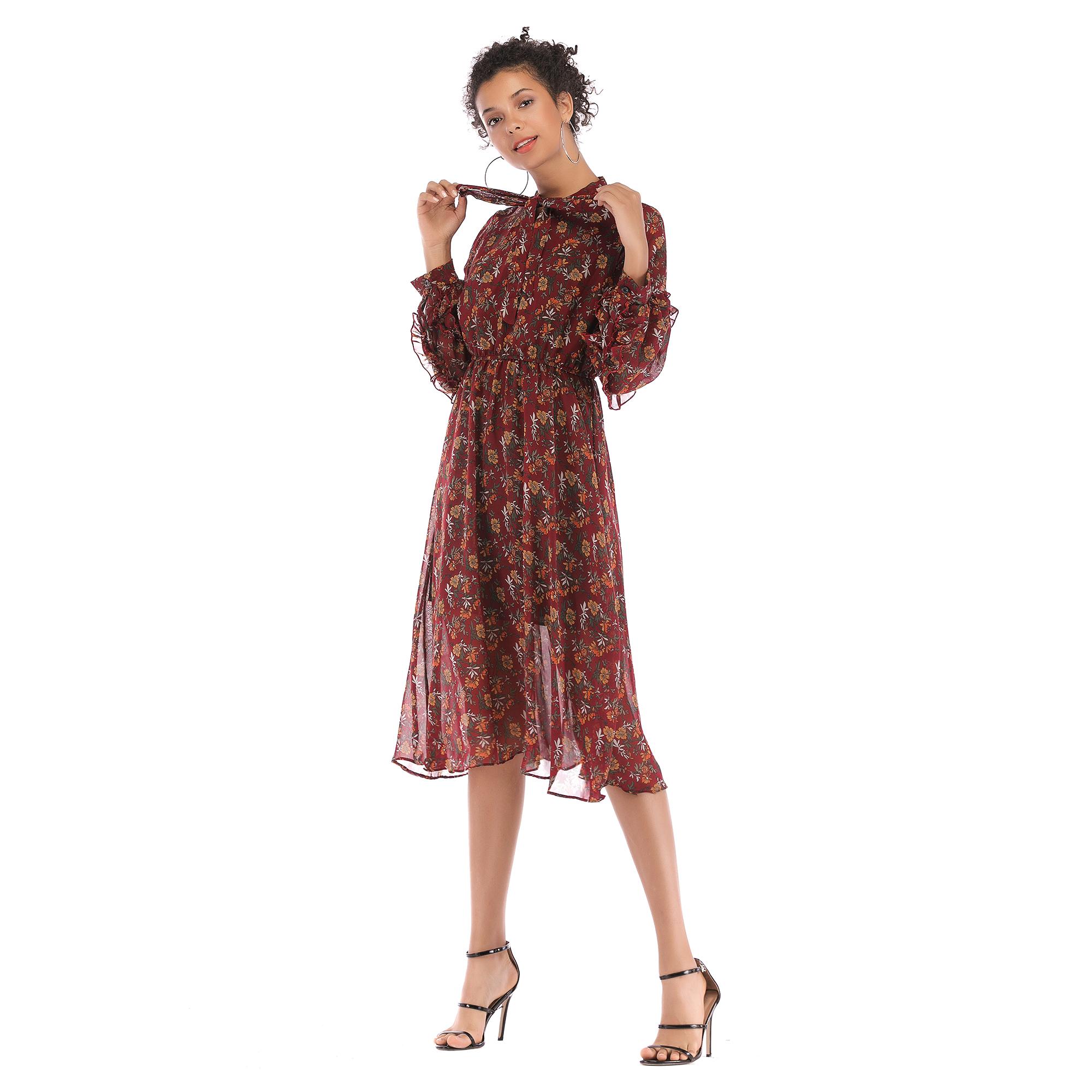 5909 ebay速卖通秋冬新款蝴蝶结碎花雪纺连衣裙 中长款长袖大摆裙