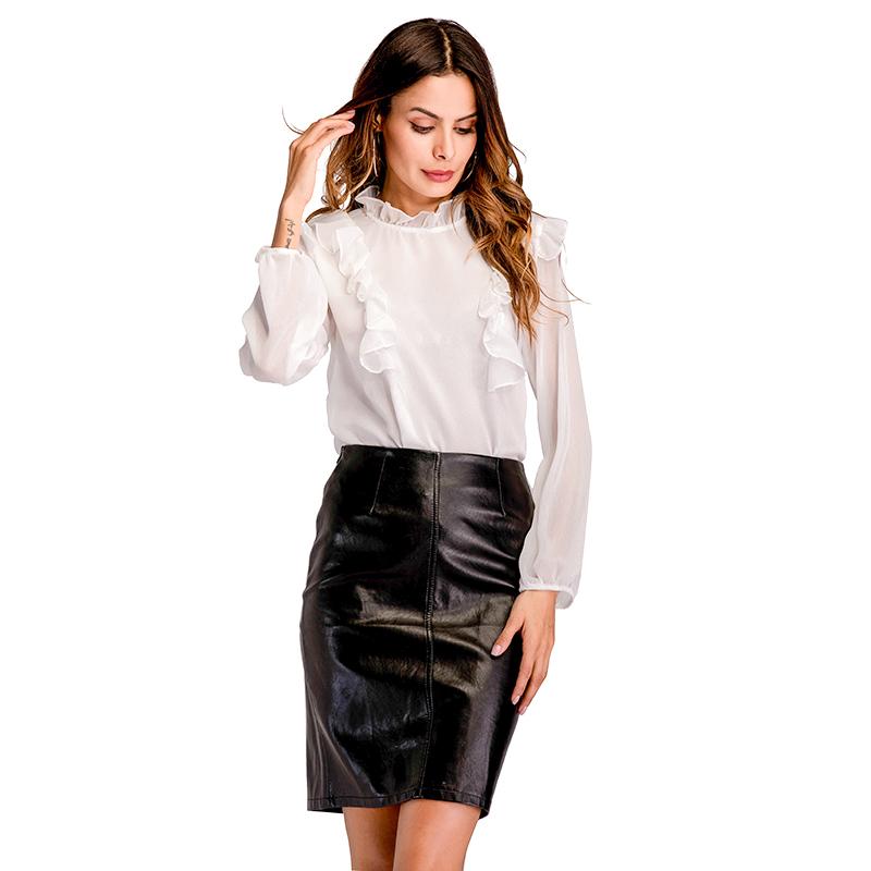 实拍 速卖通秋季新款女装 圆领荷叶边休闲百搭雪纺白衬衫女