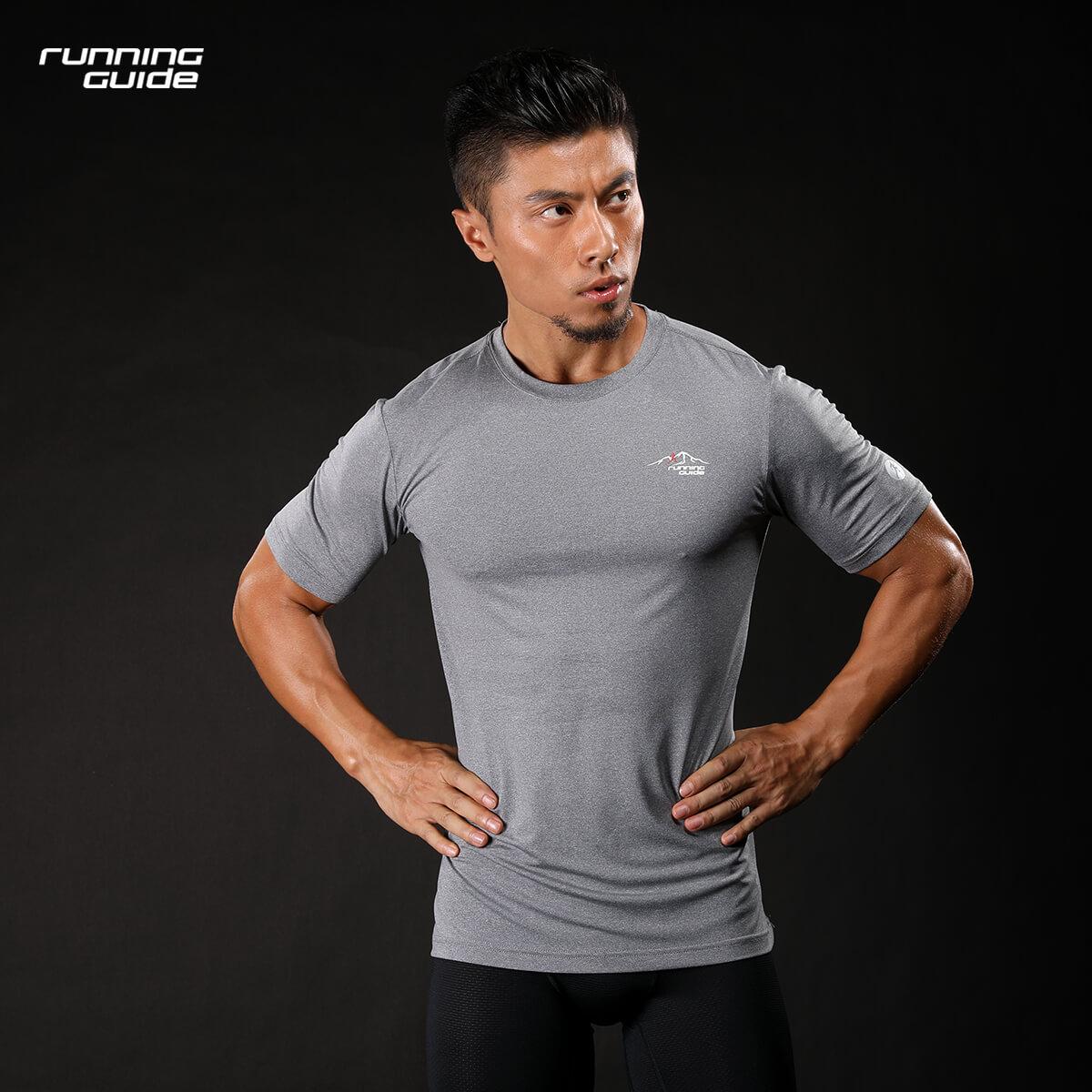 跑步指南 3638新品男款跑步运动T恤短袖圆领超轻速干透气健身休