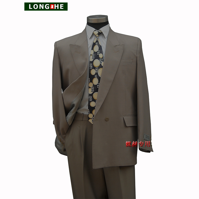 Longhe brand middle-aged and old mens formal suit single piece top fattened and enlarged pure wool double breasted coat