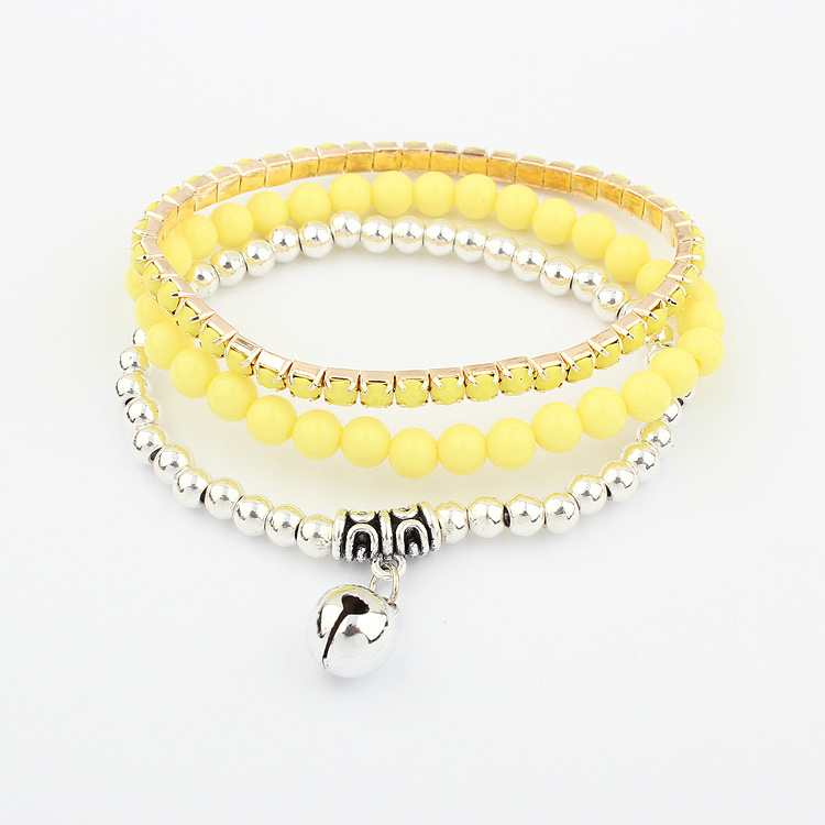 1307 jewelry Korean popular versatile small bell multi-layer Bracelet (fluorescent yellow)