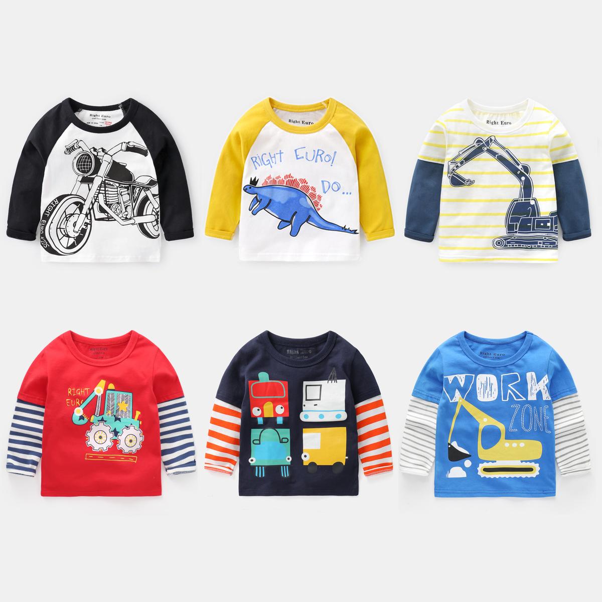儿童短袖长袖T恤纯棉秋装男童夏装童装宝宝小童1岁3幼儿潮上衣