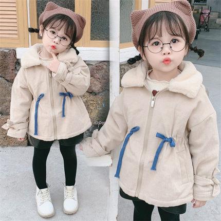 3岁女童加绒加厚外套中长款图片