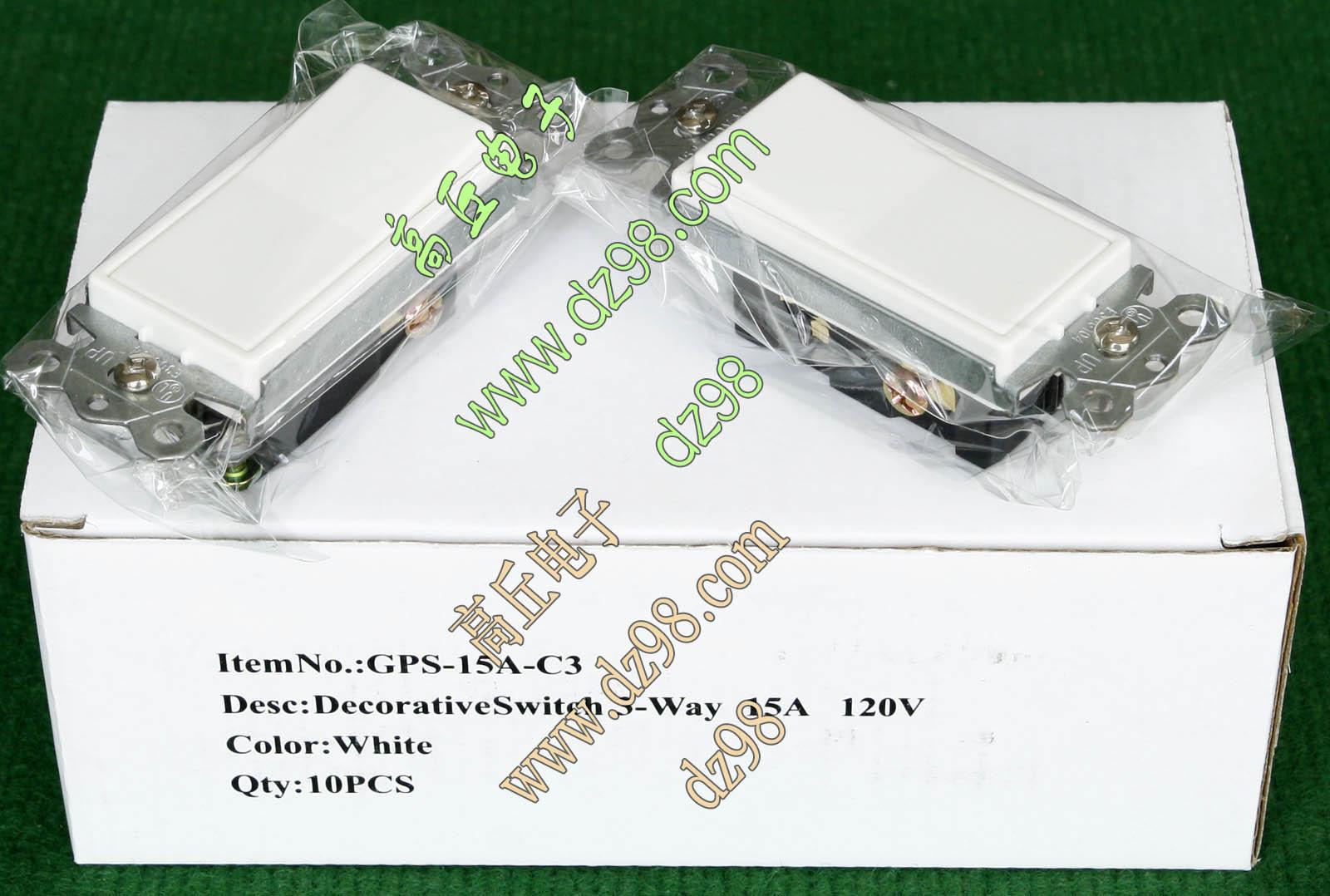 原装出口 美标 白色 120V 15A 3线 双控 1位 墙壁 面板 电源开关