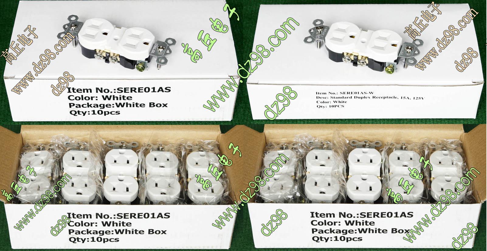 原装出口品 美标 125V 15A 白色 电源 UPS 插座 SERE01