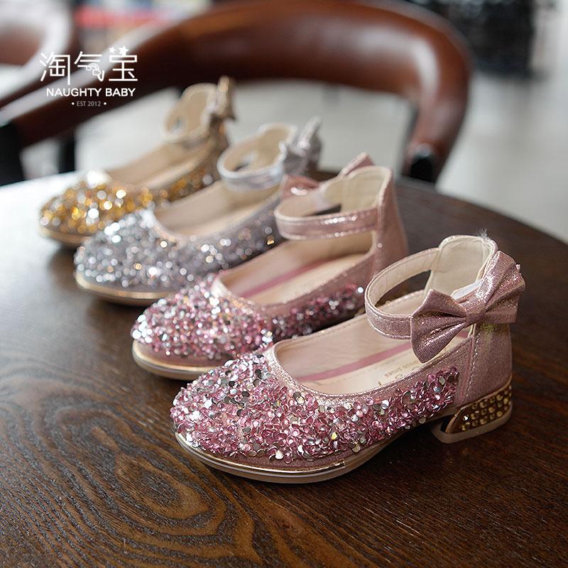 女童皮鞋高跟学生女孩钢琴表演水晶礼服模特走秀演出小公主儿童鞋